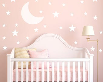 Moon and Stars Wall Decal - Moon Wall Sticker Kids - Nursery Decor | PP123