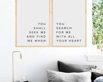 Scripture Wall Art,  Bible Verse Wall Art, Bible Verse Print, Faith Quotes, You will seek me and find me, Jeremiah 29:13, Bible Printable