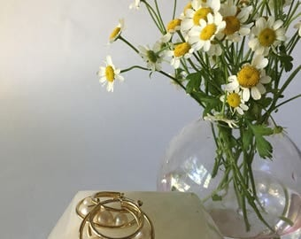 1990s Gold Hoops With Pearl Detail