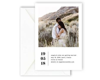 Printable Save The Date Card, Wedding Invitation, Wedding Announcement, Simple Invite, Modern & Minimal Save The Date Card [06]