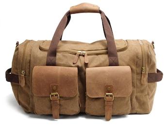 Waxed Canvas Duffle Bag Weekend Bag Duffel Bag Men