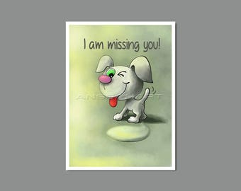 I Miss You Card Printable, I Miss You Digital Card, I am Missing You Card, Instant Download, Flirty Card, Puppy Drawing, Original Drawing