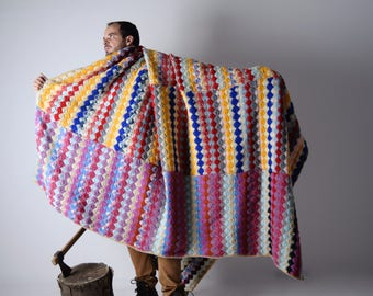 Blanket, Wool Blanket, Handmade afghan, Crochet blanket, Big Vintage Blanket, Queen size blanket, Colorful blanket, Christmas, Made in Italy