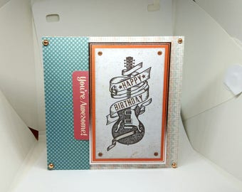 Male Birthday Card - Guitar - luxury personalised unique quality special bespoke UK - Dad/Son/Uncle/Brother/Nephew