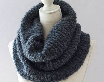 Grey Hand Knitted Bouclé Snood, Soft Wool Knit Cowl, Knitted Tube Scarf, Winter Tube Scarf, Light Hand Knit Cowl, Womens Cowl, Gift Idea