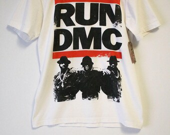 RUN DMC with Band Image Below White T-Shirt- Size Women's Small (Cotton)