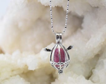 Necklace and pendant 925 sterling silver Ruby cage