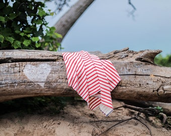 "24"" x 40"" red stripe nautical organic cotton t-shirt hair towel"