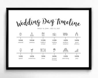 Custom Icon Wedding Day Timeline DIY Digital Day of Wedding
