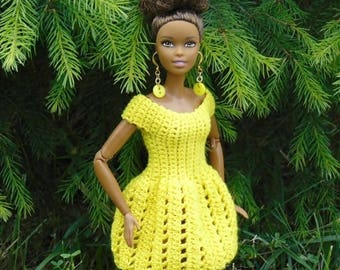 Barbie dress, barbie clothes, barbie clothing, barbie, summer, doll dress, crochet, barbie fashionista, barbie accessories, yellow