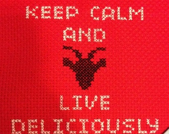 Keep Calm and Live Deliciously Finished Crosstitch