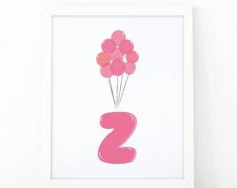 Initial z, Z letter Balloons, Letter Nursery, baby pink Balloons, initial Printable, Nursery Initial Print, pink Initial Balloons, Up disney