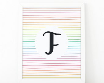 Letter F, typography, Colorful  Stripes, initial Printable, Colors, Nursery Initial Print, Initial Wall Art, initial print, printable letter