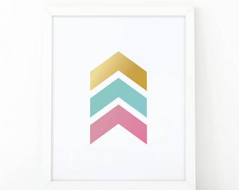 chevron Arrows, chevron decor, Arrows print, Pink and mint, Geometric Print, Golden, Modern Home Decor, Navy Printable, Geometric Wall art