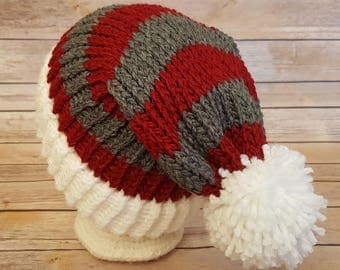timeless design 745f5 80343 Scarlet Gray Slouchy Hat, Red Gray Sports Team Hat, Ohio State Buckeyes Hat,