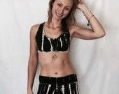 2.01 Onyx Cross Strap Open Back Bralette. Batik Print. Black. Beige. Yoga. Barre. Athletic. Boho. Zen. Moon