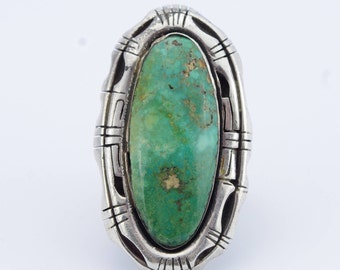 Vintage Sterling Silver Large Turquoise Ring