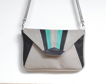 "Leather with grey, black and emerald green ""MADU"" shoulder pouch"