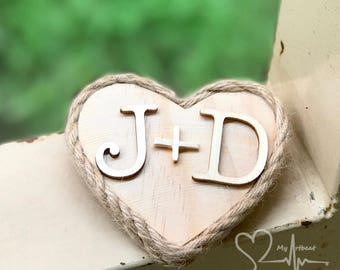 Rustic Wooden Heart Boutonniere, Custom Heart Boutonniere, Boutonniere with Initials, Twine Boutonniere, Rope Boutonniere, Ring Bearer Sign