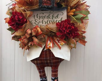 Thankful and Blessed Tom Turkey Wreath, Thanksgiving Wreath, Deco Mesh Wreath, XL Wreath, Fall Wreath