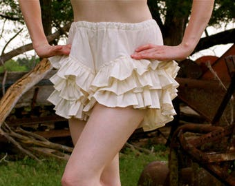 Coquette Bloomers - Large, Extra Large, or 2X (Choose Your Size) - 100% Cream Cotton Muslin / Ruffle - Adult / Women Handmade in Kansas