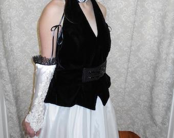 Black Steampunk wedding dress, black halter dress, alternative wedding dress, black wedding dress, Black Steampunk Wedding Dress