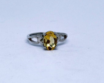 Citrine Ring, Sterling Silver Citrine Ring, November Birthstone, Under 75, Ladies Citrine Ring, 925, 1.5 Carat Citrine, Gift For Her, 1481