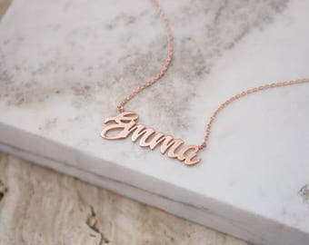 Rose Name Necklace, Gold Name Necklace, 14K Gold Necklace, Rose Gold, Personalized Necklace, Gift For Her, Custom Gold Name, Unique Name