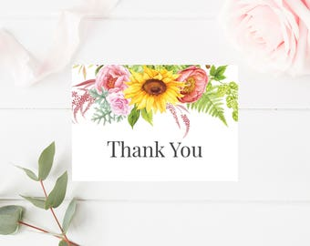 Rustic Watercolor Sunflower Thank You Card, Printable Thank You Card, Sunflower Thank You Card, Printable Floral Wedding Thank You Note