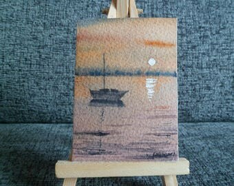 ACEO Original Watercolor Painting Boat Reflected Home Decor Fine Art 2,5 x 3,5 in.