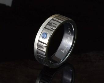wedding band mens, unique gents ring, bague homme, blue safire titanium ring for men, mens wedding ring, black ring, alliance homme