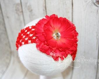 Red Carnation Flower Headband, Baby Headband, Newborn Headband, Baby Girl Headbands, Baby Hair Band, Red Headband, Flower Headband, Red Bow
