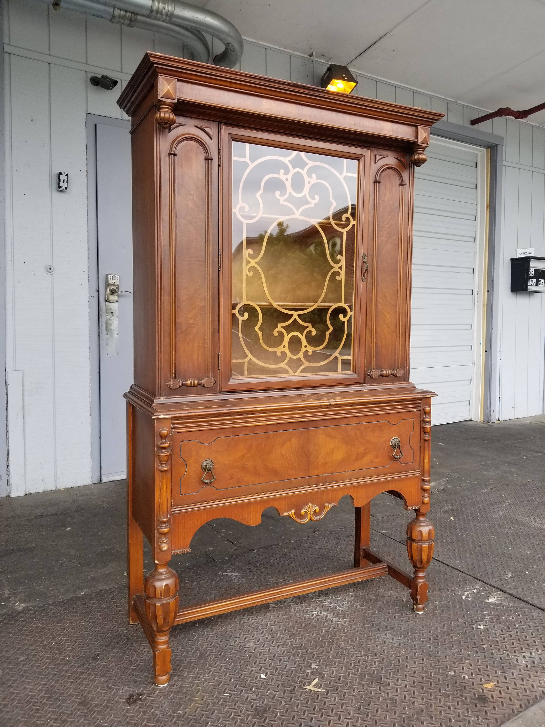 Antique Art Deco Dining Room Hutch Waterfall Glass Cabinet