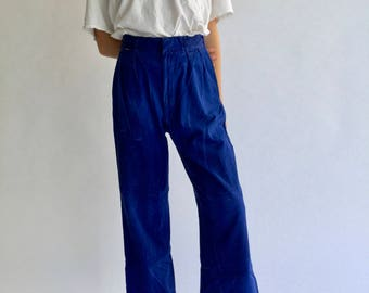 Vintage 31 32 Waist Indigo Over dye Blue Pleat Pant | High Waist High Rise Trouser Crop Pant | French Workwear Style SEE SIZE RUN