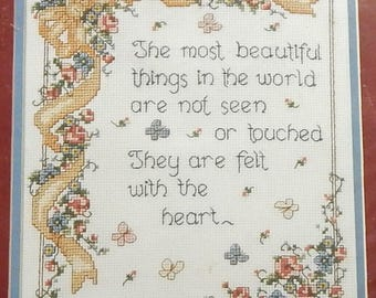 """Plaid Bucilla Counted Cross Stitch Kit #40254 - Inspirational """"Most Beautiful Things"""" Designed By Bonnie Smith Disotell- New in Package"""