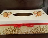 Wooden Tissue Box Holder Tissue Dispenser Cover Rectangular Home decoration Bedroom decoration Hand decorated Vintage Angels Gift