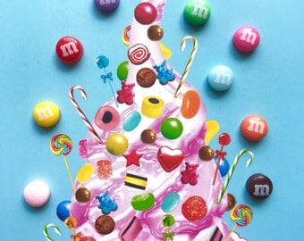 M&M Minis Rainbow Earrings fixed to Surgical Stainless Steel Studs - A Classic International Sweet!