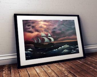 Drift Away, Ship, sailboat, boat, ocean, storm, waves, water, bay, sunset, giclee print, fine art