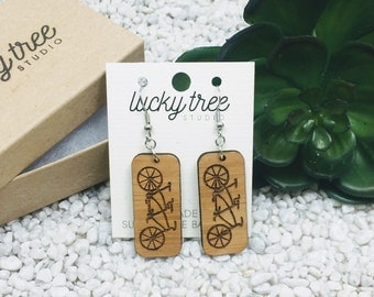 Tandem Dangle Earrings | Eco-Friendly Bamboo Jewelry | Laser Cut Earrings