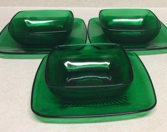 Anchor Hocking Charm Pattern Forest Green Soup Bowl Set Of 3