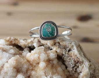 Turquoise Cuff Bracelet // Sterling Silver // Fox Turquoise