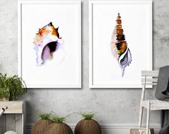 Watercolor paintings set colorful sea art Nautical wall art decor Seashell Bathroom wall decor art prints 2 Watercolor set of 2 art prints