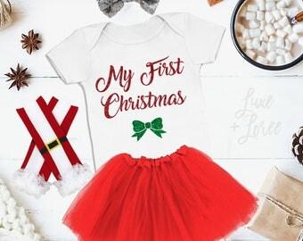 My First Christmas bodysuit Baby Girls Christmas Outfit Girls Onesie Shirt Baby Girl Christmas Outfit Baby Christmas Outfit Christmas Shirt
