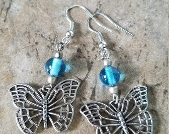 Butterfly and glass bead Silver Tone Drop Earrings