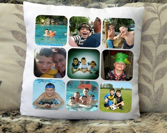 "Personalised photo collage cushion cover with 9 photos 16""x16"" (40cmx40cm) gift birthday family holiday"