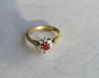 Ruby, Diamond Gold Ring Sz 2 1/2