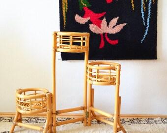 Vintage bamboo flower plant bamboo boho plants rattan folding stand