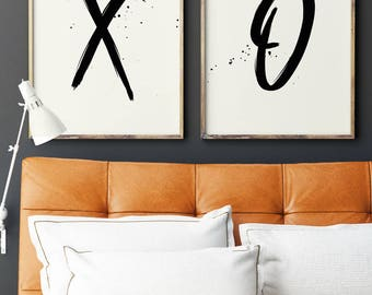 XO Prints, XO Print Set, XO Art Prints, Set of 2 Prints, Typography Prints, Minimalist Art, Love Wall Art, Printable Art, Instant Download