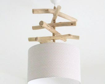 Chandelier Driftwood triangles white/taupe - lamp shade cylinder 28 cm - cylindrical pendant - round ceiling light