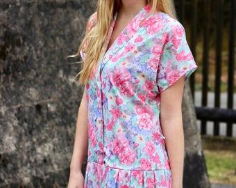 Floral Pleated Drop Waist Dress